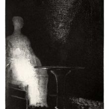 A ghostly figure is sitting at a table while in the background, two eyes emerge from the shadow