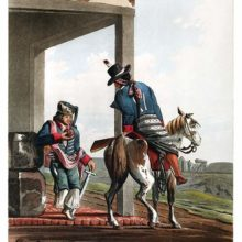 Two men in uniform are talking together, one on horseback, the other drinking maté with a straw