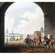 Hand-colored aquatint showing the Plaza de Mayo as seen through the center arch of the Recova