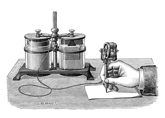 A hand is seen writing on a stencil with Edison's electric pen connected to a wet cell battery