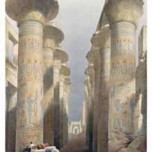 View of the Hypostyle Hall at the Karnak temple complex with columns showing polychrome decoration