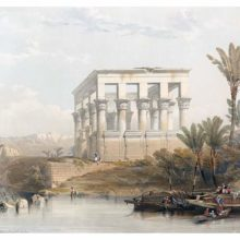 View of Trajan's Kiosk overlooking the Nile at its original location on the island of Philae