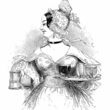 A woman looks to her right while carrying a tankard in one hand and a tray in the other.