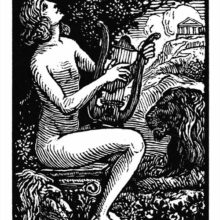 Orpheus is sitting on a capital, playing the lyre and singing with two lions lying at his feet.