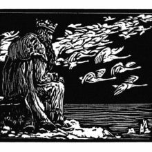 An old king sits moodily on a rock facing the sea as a flock of swans flies through the sky
