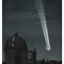 View of the great comet of 1881 as it travels through the night sky past an observatory