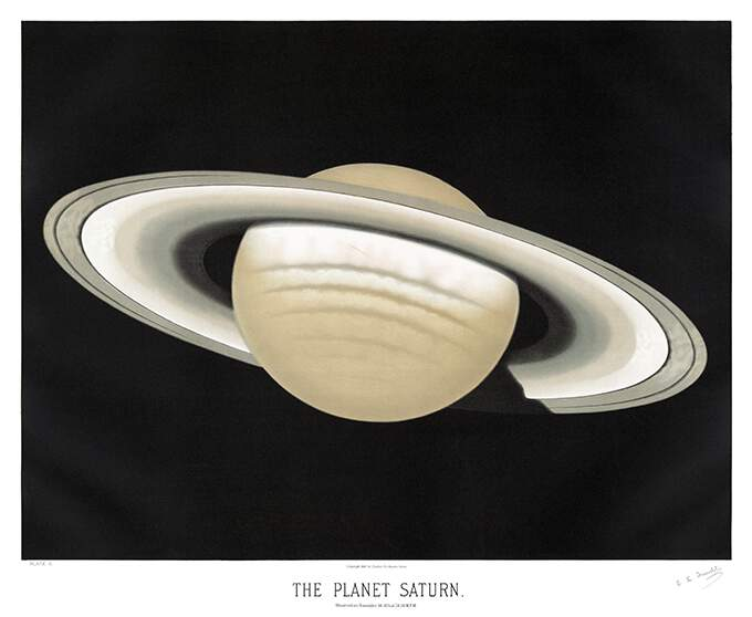 Plate showing a view of the planet Saturn with its ring system at a slight angle