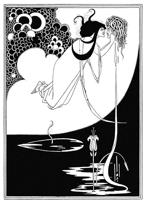 Salomé is floats in midair, holding the severed head of John the Baptist close to her face as a pool of blood forms below