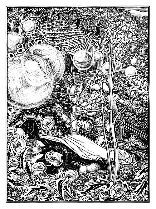 An armored knight kneels by a man lying in a fantasy forest alive with birds and floating spheres