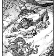 A pilgrim and a knight are runnning away from a giant who has fallen down outside a castle wall