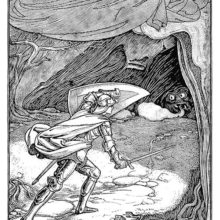 A knight holds up his shield for protection as he walks toward a cave inside which a monster lies