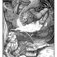 A knight lying on the ground protects himself with a shield against a monster wielding flaming darts