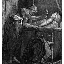 A woman with a candle leans over the bed in which a man is sleeping, to have a closer look at him