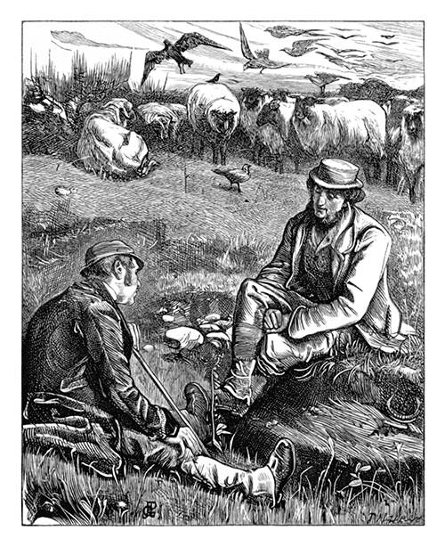 Two shepherds are sitting in a meadow, talking together as sheep graze in the background