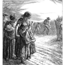 Women form a line in a field while looking toward men reaping wheat with their sickles