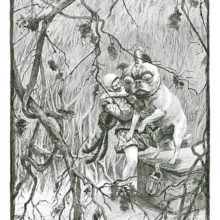 A man wearing trunk hose stands in a clearing and heaves a large dog off a locked chest
