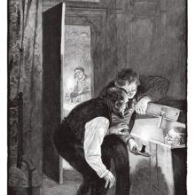 Two men lean over a chest and peek at the man hiding inside as a woman watches from another room