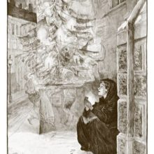 A girl squatting on a snowy pavement looks at a Christmas tree around which children are dancing