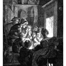 An older woman is sitting opposite a fireplace and tells stories to children gathered around her