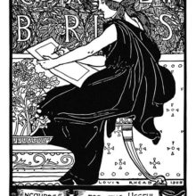 Bookplate design showing a woman seen from the side about to write or draw on a piece of paper