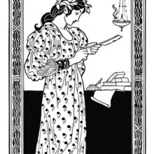 Bookplate showing a woman sharpening a quill by an oil lamp as books can be seen in the background