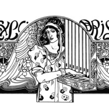 Bookplate showing a winged female figure playing the portative organ among decorative floral motifs