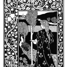 Bookplate design showing a woman standing with a book in her hands and a peacock at her feet