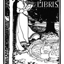 Bookplate showing a woman standing with a book in her hands, by a pond in which swans are swimming