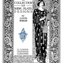 Title page with a decorative border, showing a woman painting against a background of foliage