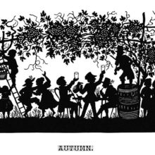Silhouette illustration showing people dancing, drinking, and flirting under a grape harbor