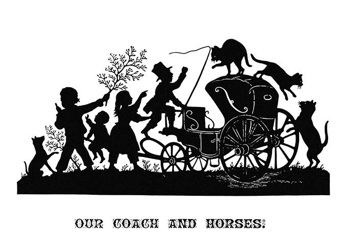 Silhouette illustration showing children, and a coachman yelling at cats jumping about a carriage