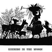 Silhouette illustration showing a woman followed by a child, carrying baskets as deer stand nearby
