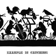 Silhouette illustration showing a cat, an ape, a fox, etc., giving a concert conducted by a stork