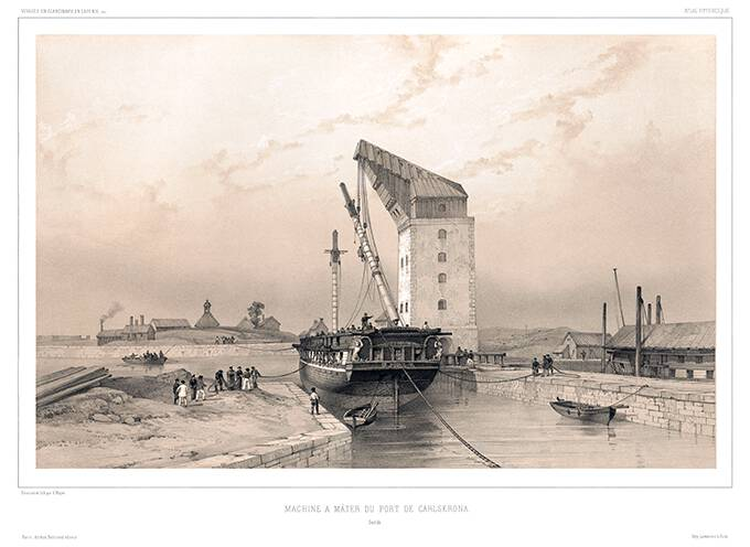 A ship has been brought under a masting sheer and is having one of its masts put into place